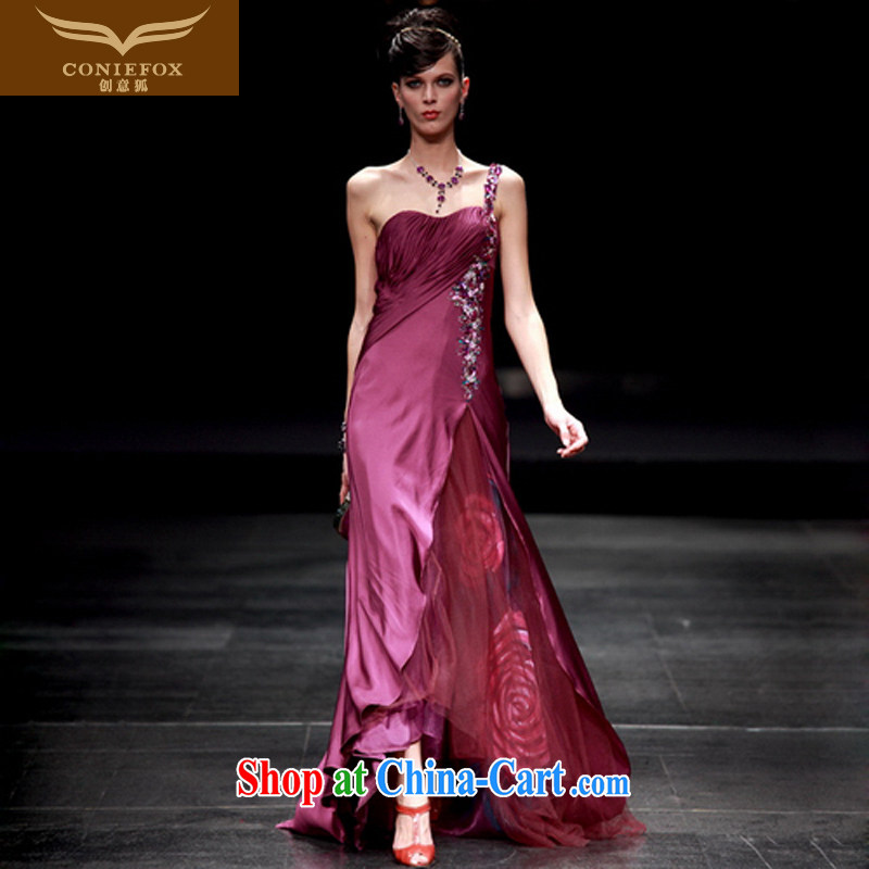 Creative Fox Evening Dress stylish wiped his chest wedding dresses purple single shoulder banquet dress bridal bridesmaid dress dress uniforms dress presided over 80,356 purple XXL