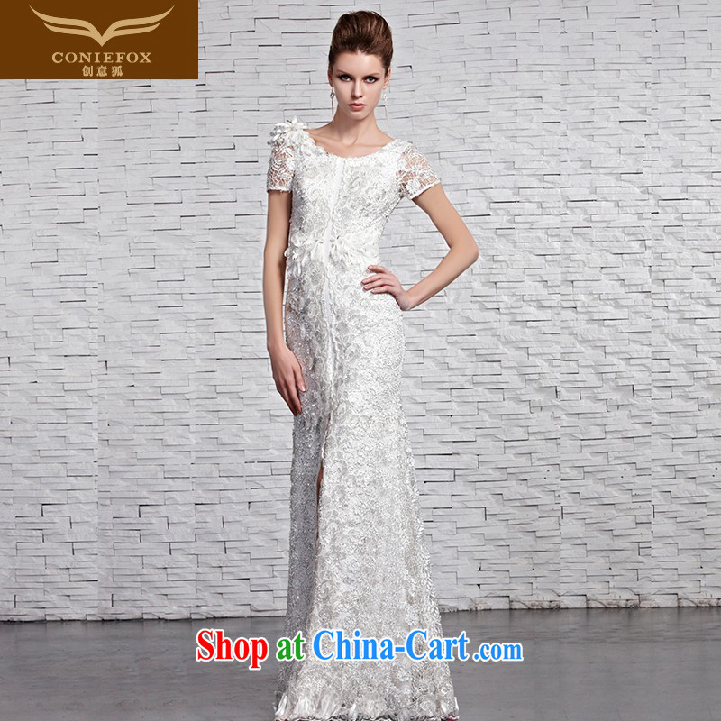 Creative Fox Evening Dress white lace bridal wedding dresses wedding dresses toast long skirt fall beauty to dress the dress hospitality service 81,593 picture color XXL