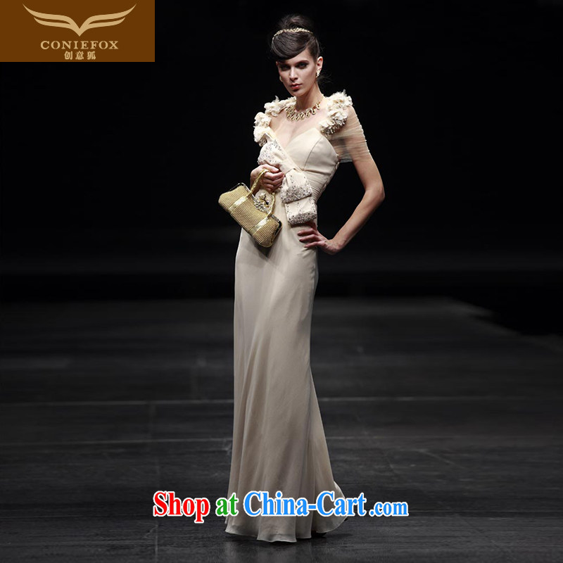 Creative Fox Evening Dress stylish the waist banquet dress bridal bridesmaid dress wedding dress uniform toast wedding hospitality service the wedding dress 80,606 picture color XXL