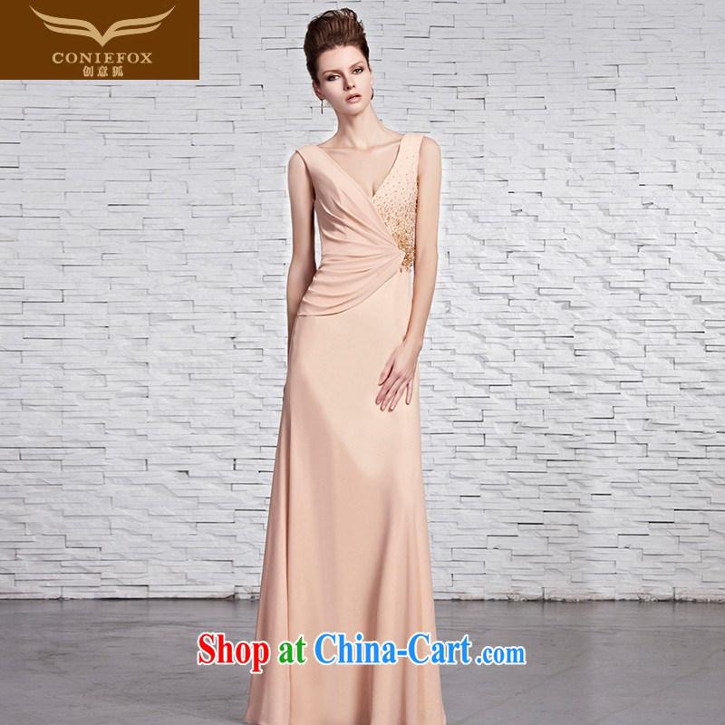 Creative Fox dress sense of deep V banquet dress and wrinkle-waist dress shoulders graphics thin chair dress bridesmaid dress evening dress dress 81,596 picture color XXL