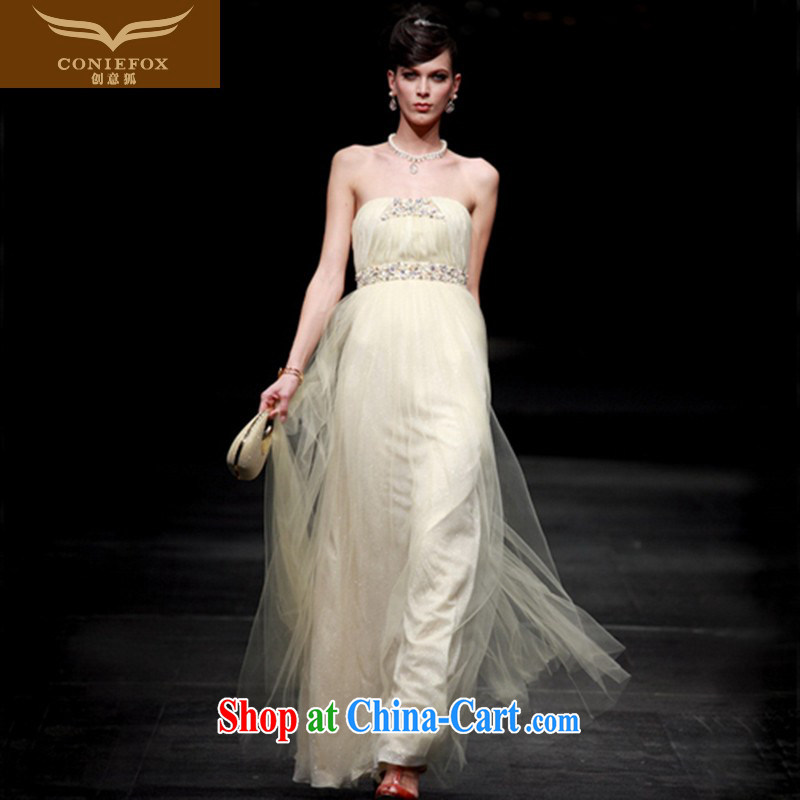 Creative Fox dress wiped chest banquet dress evening dress uniform toast the dress long skirt elegant long bridesmaid dress dresses welcome 80,630 picture color XXL