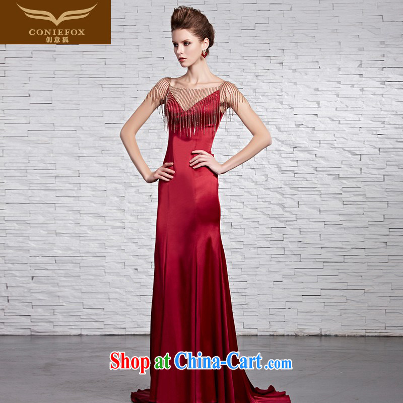Creative Fox dress new only a pearl sexy V collar dress red dress crowsfoot bridal wedding dresses Red Carpet dress skirt 81,652 pictures color XXL
