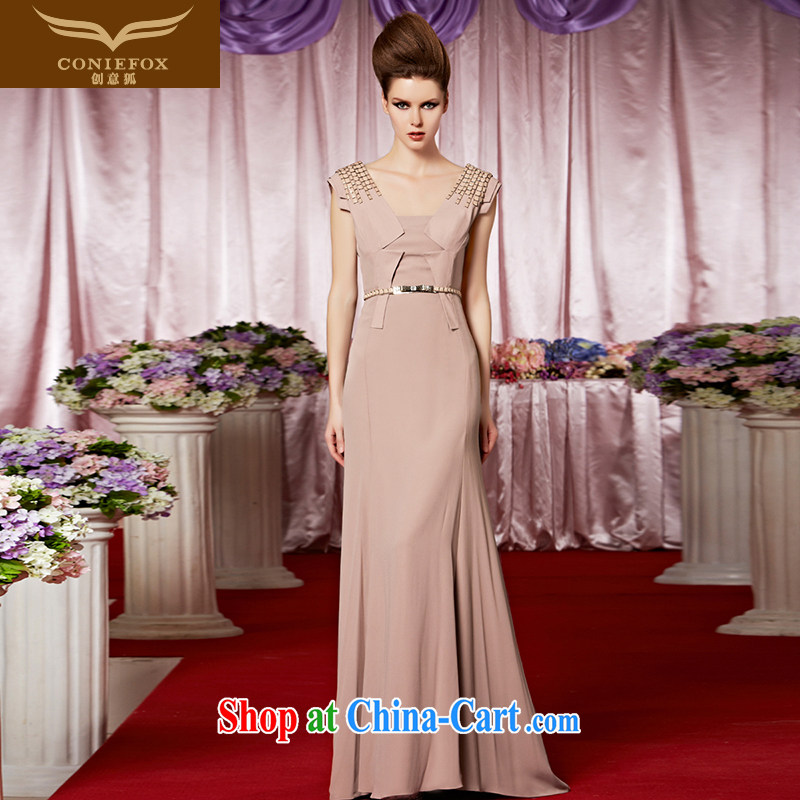 Creative Fox Evening Dress new apricot elegant banquet dress will preside over dress and elegant style double-shoulder-tail dress show long skirt 30,256 picture color XXL