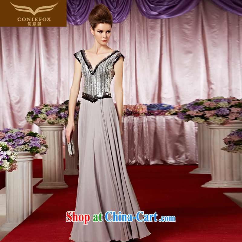 Creative Fox Evening Dress new stylish, dress classy and dress sense of deep V reception party dress evening dress dress 30,288 picture color M