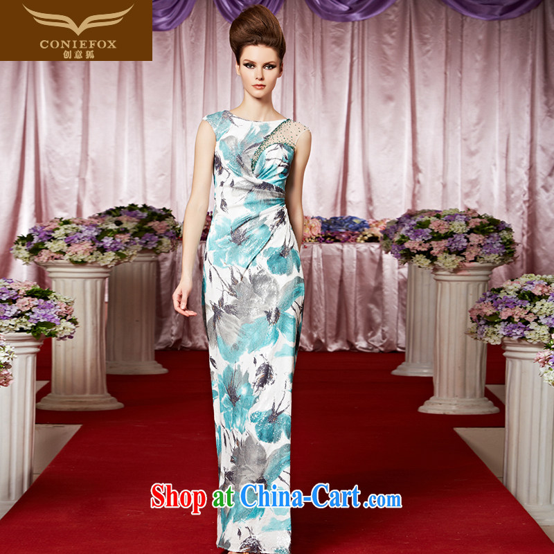 Creative Fox Evening Dress new banquet dress hand-painted flowers fall dress cultivating ethnic wind dress long skirt the Show dress skirt 30,298 picture color XXL