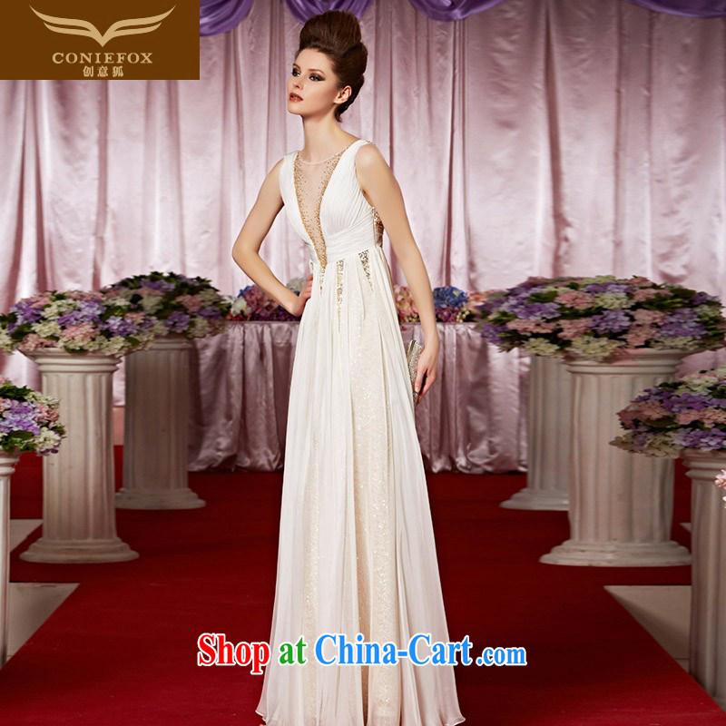 Creative Fox Evening Dress elegant white shoulders high waist dress beauty V deep sense of dress will suit the dress Red Carpet dress 30,308 picture color XXL