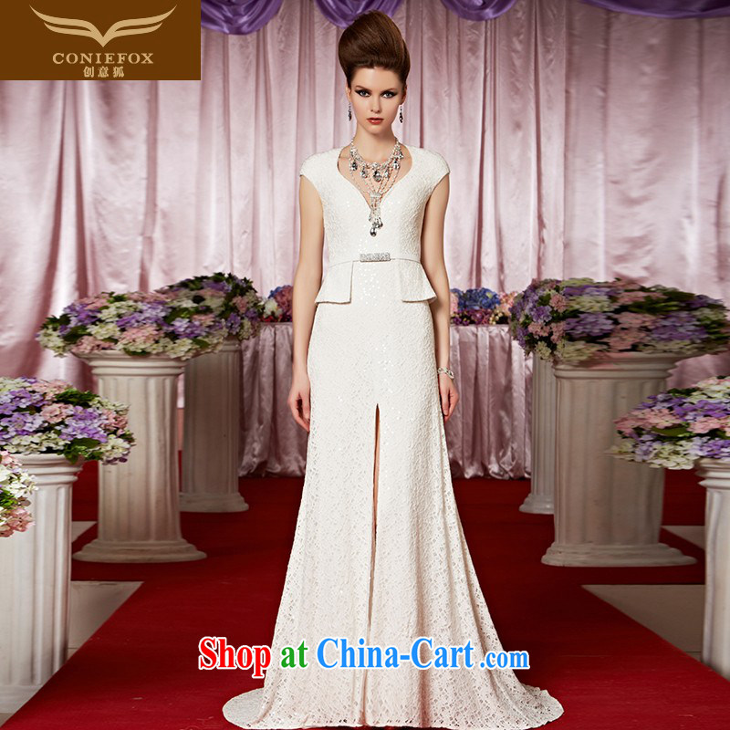 Creative Fox Evening Dress new white banquet dress elegant and noble tail bridal gown dress appearances evening dress Red Carpet dress 30,319 picture color XXL