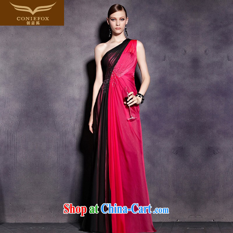 Creative Fox evening dress, shoulder-length, banquet dress the shoulder evening dress uniform toast Reception Party dress the annual concert dress uniform 81,930 pictures color XXL