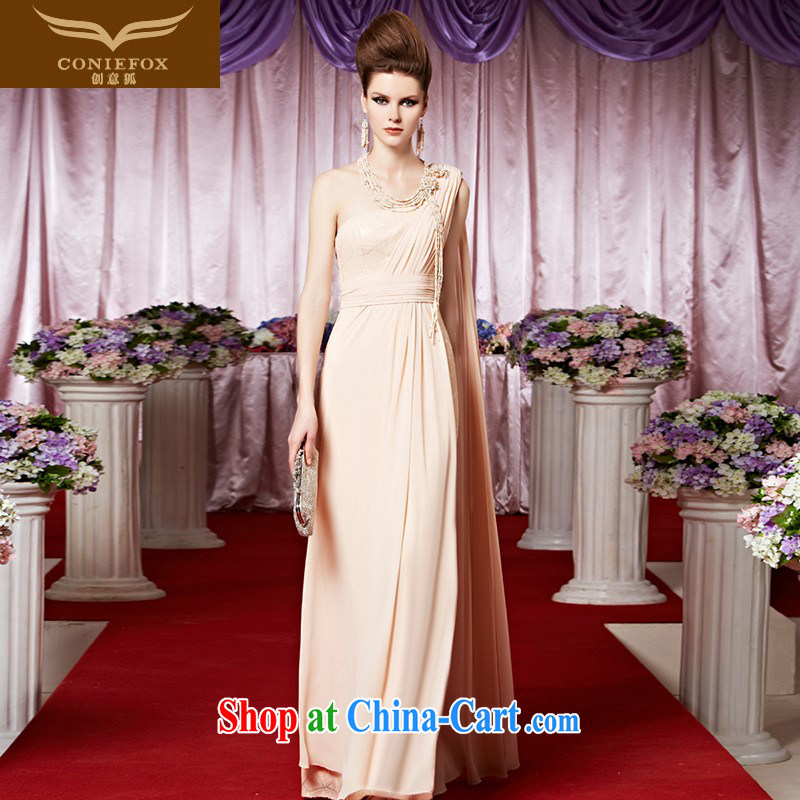 Creative Fox Evening Dress elegant and noble long apricot dress exhibition Red Carpet dress bride single shoulder dress sweet fall dress skirt 30,321 pictures color XXL