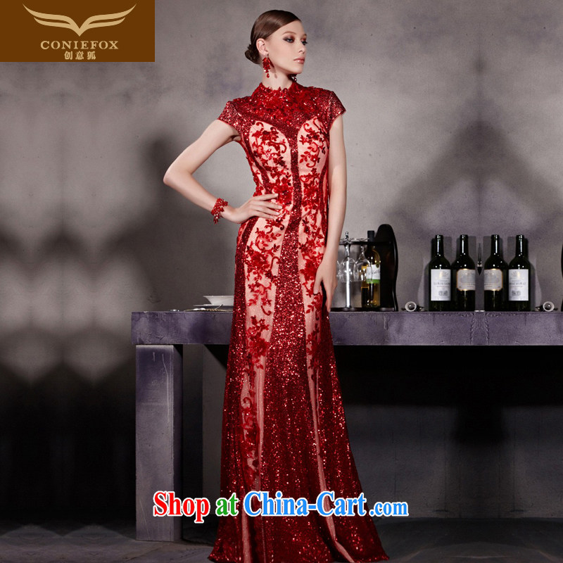 Creative Fox Evening Dress red evening dress toast crowsfoot bridal fall dress dress wedding dress dresses hospitality service long-tail 81,928聽picture color M