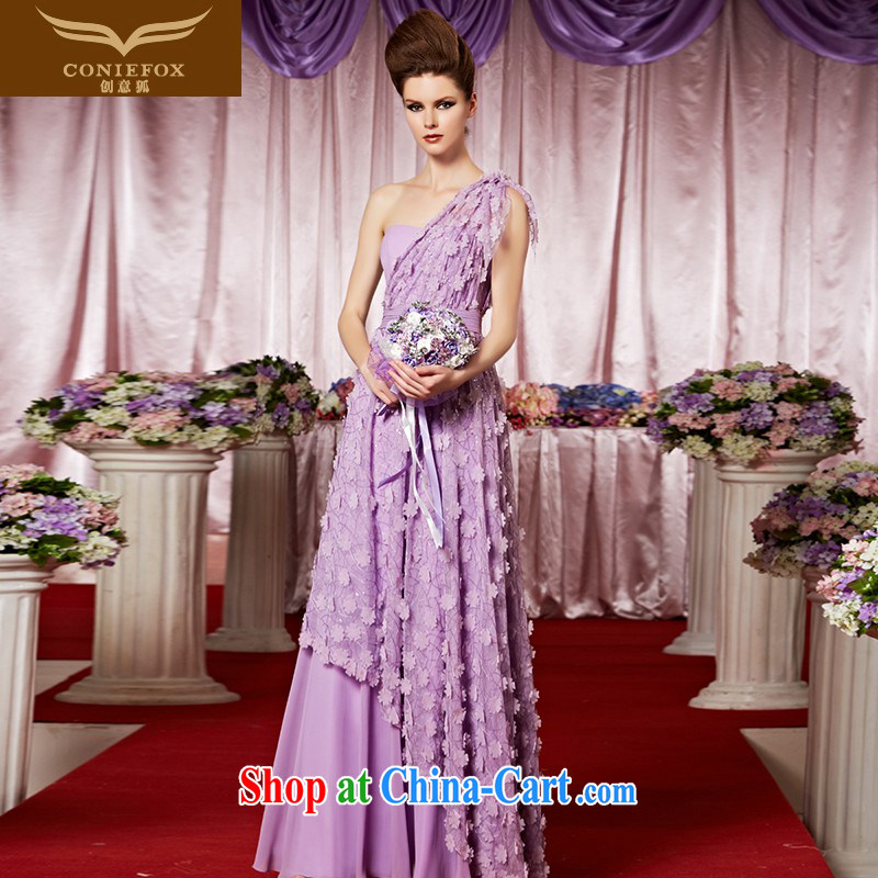 Creative Fox Evening Dress elegant long purple single shoulder bridal bridesmaid dress wedding dress show the dress long skirt fell to 30,323 flowers picture color XXL