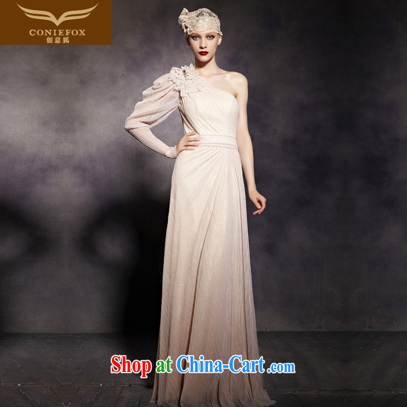 Creative Fox Evening Dress elegant name yuan evening dress single shoulder long-sleeved fall dress uniform toasting Banquet Hosted wedding dresses wedding dress welcome serving 81,920 picture color XXL