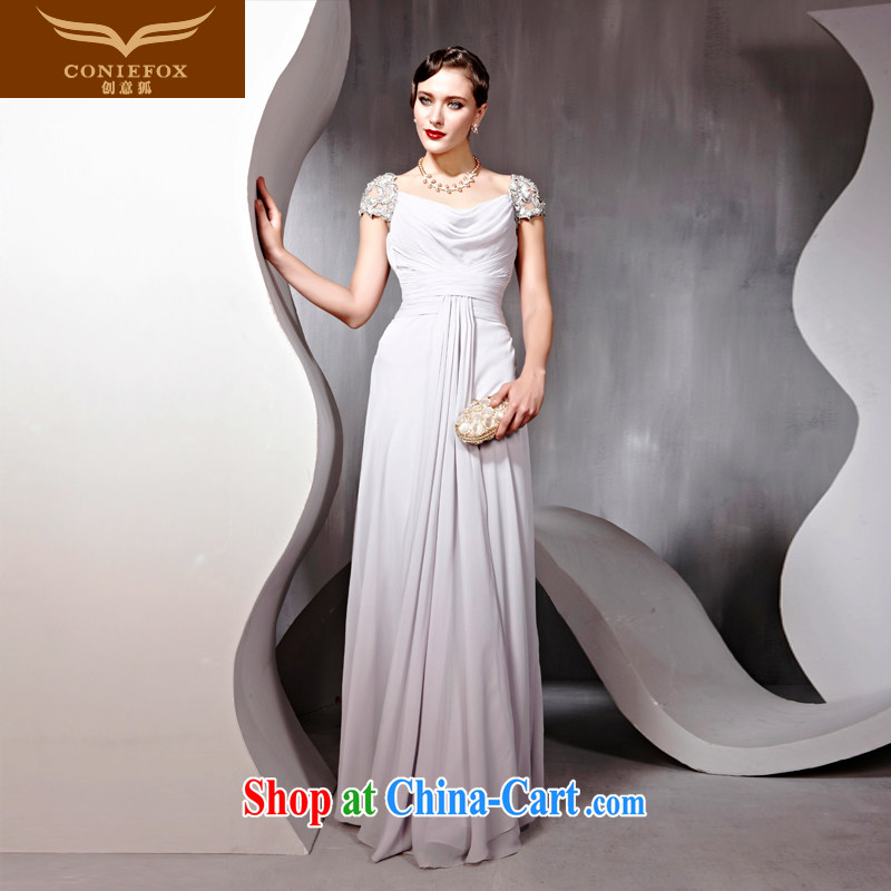 Creative Fox Tuxedo package shoulder long, banquet dress uniform toast the annual concert dress clothes and elegant style evening dress long skirt 56,699 light gray XL
