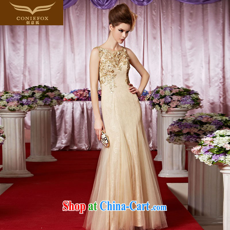 Creative Fox Evening Dress gold elegant banquet dress fall show annual dress the dress shoulders, hospitality service long skirt 30,368 picture color XXL
