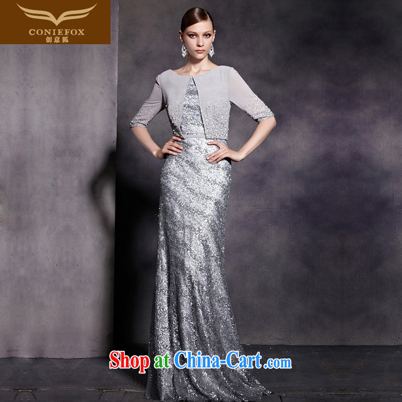 Creative Fox Evening Dress New Year dress chair luxury shawl, banquet dress silver tail show dress evening dress long 81,880 picture color XL