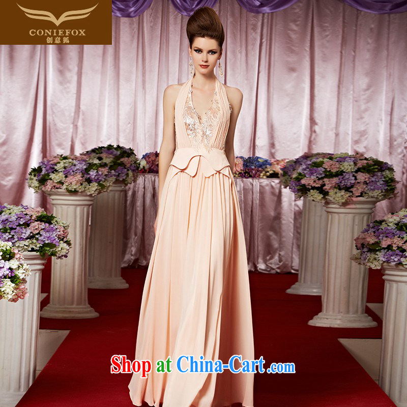 Creative Fox Evening Dress new banquet dress Deep V is also sexy wedding dresses exhibition dress pink bridal wedding dress welcome serving 30,369 picture color XXL