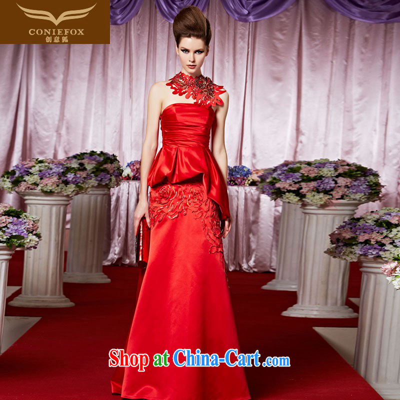 Creative Fox Evening Dress New Red bridal toast wiped his chest long evening dress high waist beauty wedding dress dress wedding hospitality service 30,385 picture color XXL