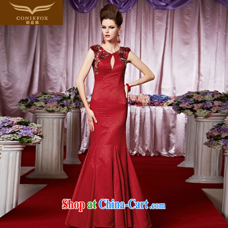Creative Fox Evening Dress red-waist crowsfoot bridal dresses wedding dresses bows beauty evening dress long skirt long fall dress hospitality service 30,388 pictures color XXL