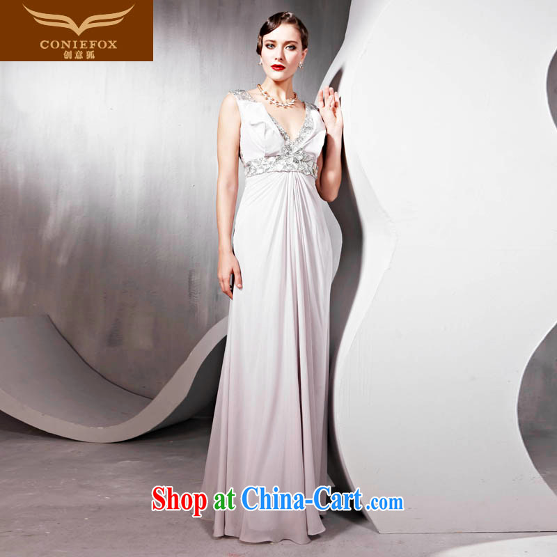 Creative Fox Evening Dress bridesmaid dress bridal the wedding toast service banquet hosted dress dress sexy shoulders V collar long show hospitality service 56,818 white XXL