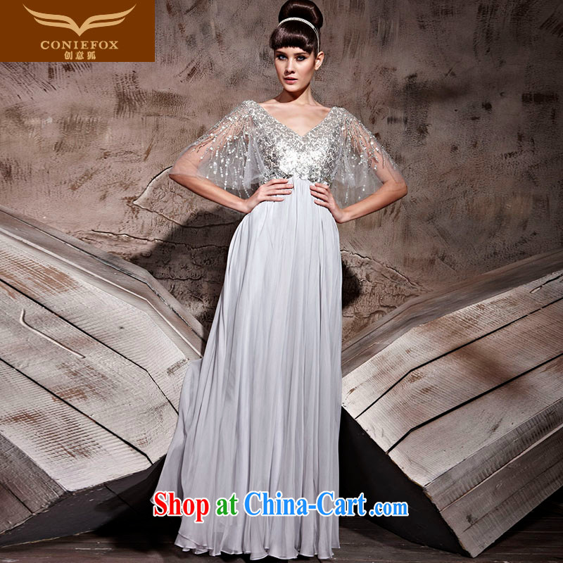 Creative Fox dress V collar long fall dress evening dress uniform toast bridesmaid dress dress elegant and noble chaired annual dress long skirt 81,018 gray L