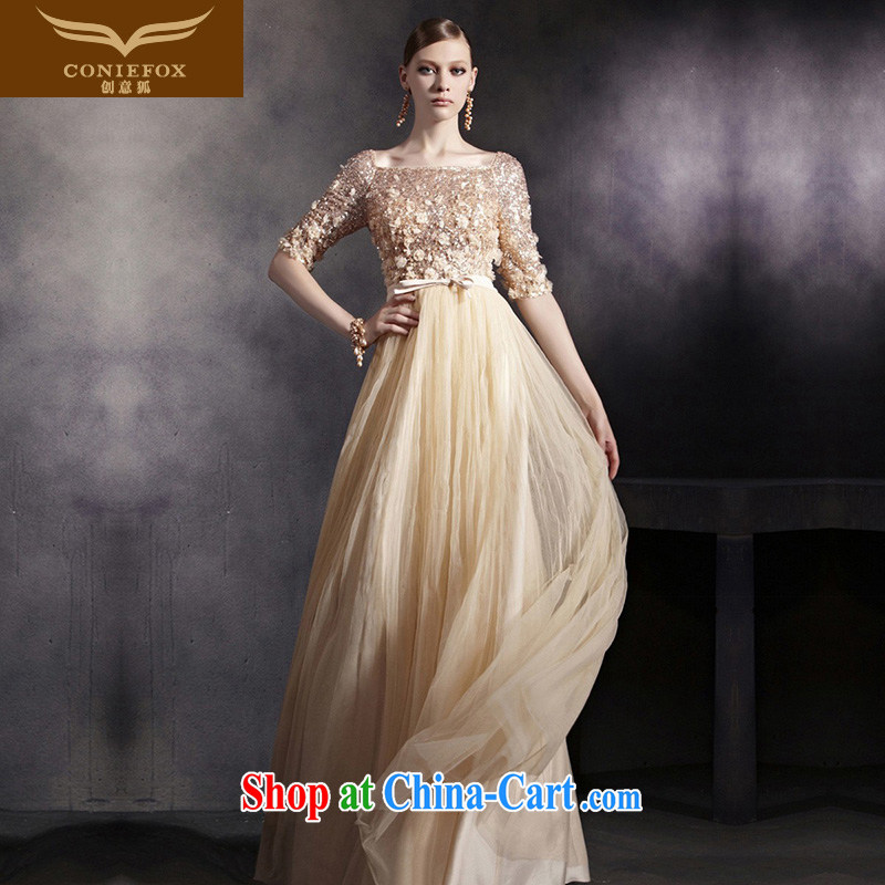 Creative Fox dress sleek gold staples concert Pearl dress bridal wedding dress evening dress uniform toast wedding hospitality service moderator dress 30,532 picture color XXL