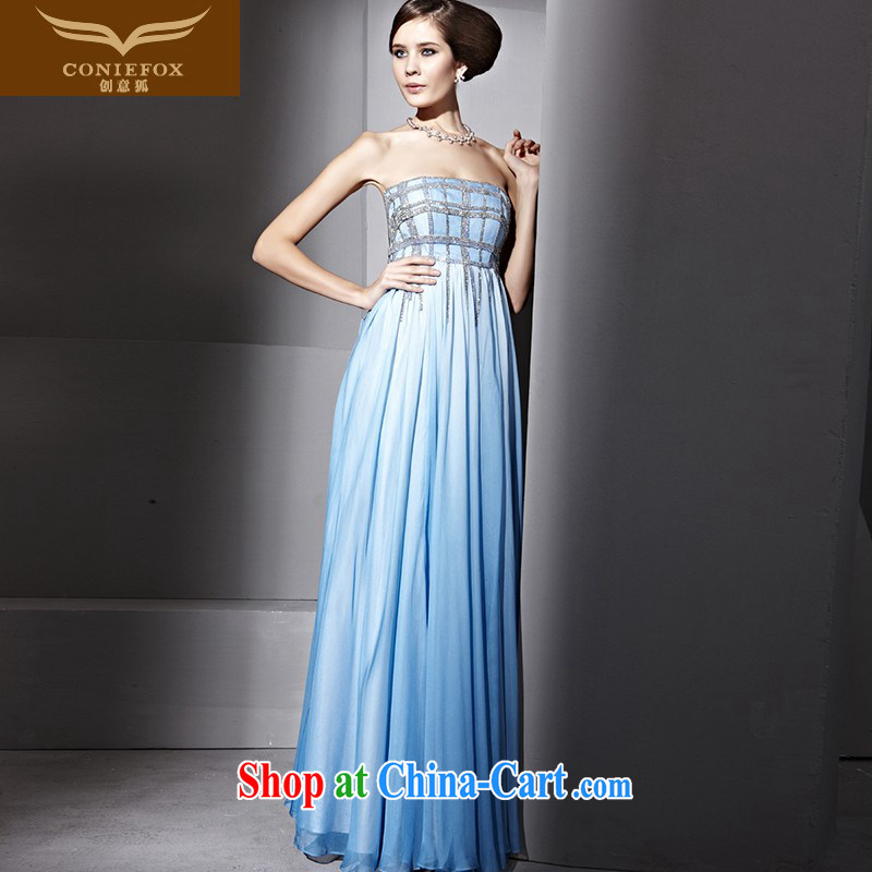Creative Fox Evening Dress wiped his chest blue elegant banquet dress stylish nails Pearl, evening dress long skirt the annual concert dress clothes 81,035 blue XXL