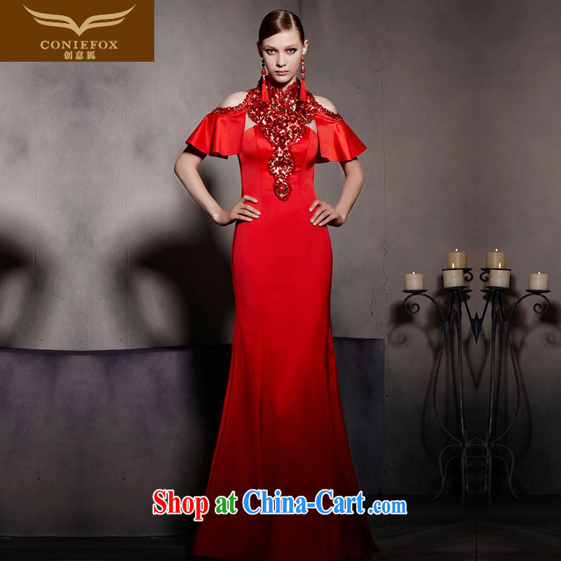 Creative Fox Evening Dress New Red wedding dress dresses crowsfoot bridal evening dress evening dress bows dress the dress courtesy service 30,535 picture color XXL