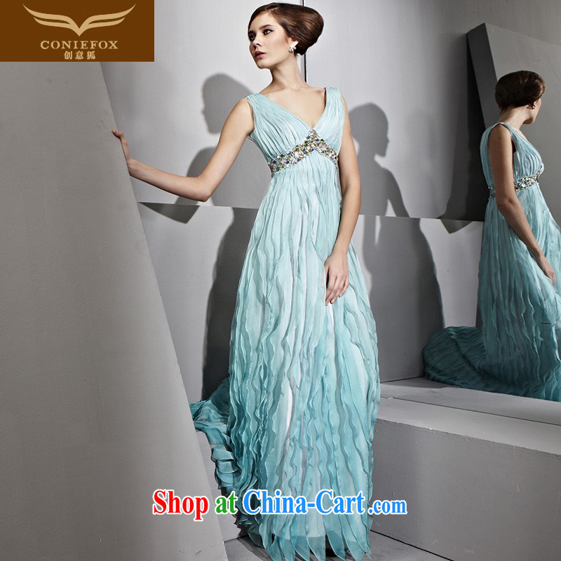 Creative Fox dress sense of deep V double-shoulder wedding dress theatrical service long fall dresses the annual dress hospitality service 81,036 green XXL