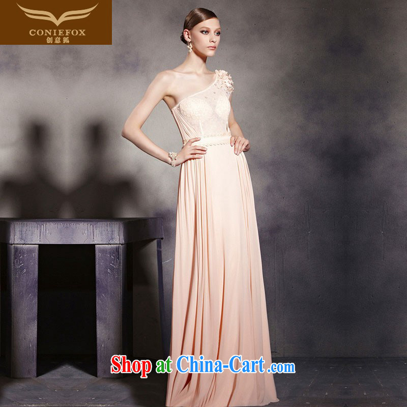 Creative Fox Evening Dress pink single shoulder banquet toast clothing fall annual dress the dress elegant long bridesmaid dress dresses welcome 30,539 picture color XXL