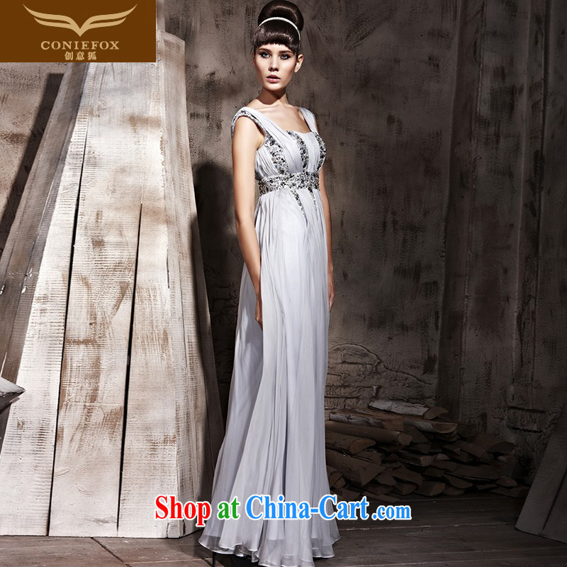 Creative Fox Tuxedo gray shoulders light drill long dress red carpet with stars dress up show dress evening dress uniform toast welcoming dress 81,039 gray XXL
