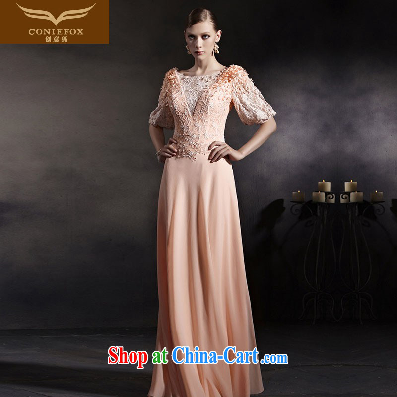 Creative Fox Evening Dress stylish new pink cuff in banquet dress high waist dress beauty long bridesmaid clothing dresses the courtesy service 30,555 picture color XXL
