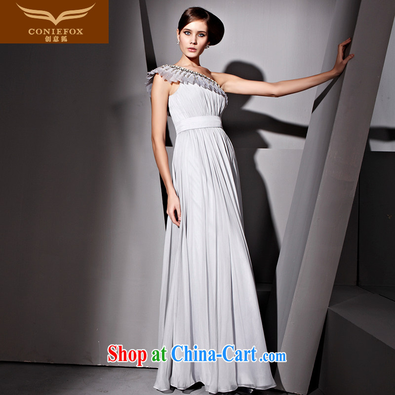 Creative Fox dress single shoulder flouncing the Pearl dress retro graphics thin dress bridal wedding dress fall long dress toast serving 81,059 gray XXL