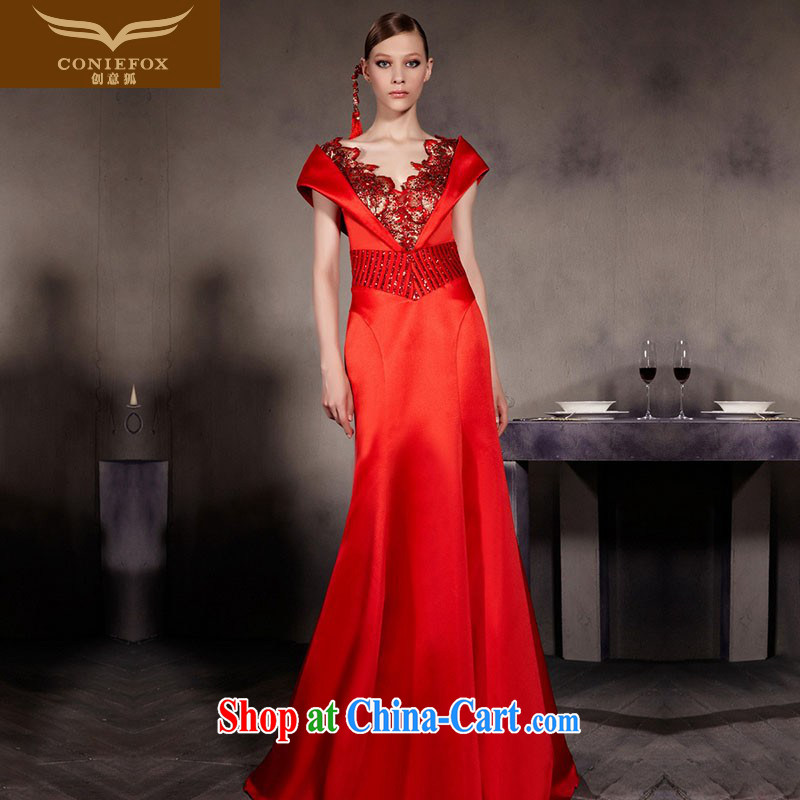 Creative Fox Evening Dress Red double-shoulder wedding dress bridal crowsfoot dress high waist bows beauty service deep V retro dress long skirt 30,566 picture color XXL