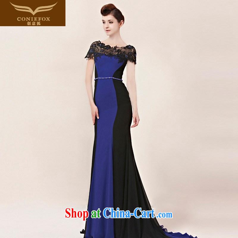 Creative Fox Evening Dress elegant and noble lace a shoulder dress long-tail dresses the annual dress dress evening dress uniform toast 30,016 pictures color XL