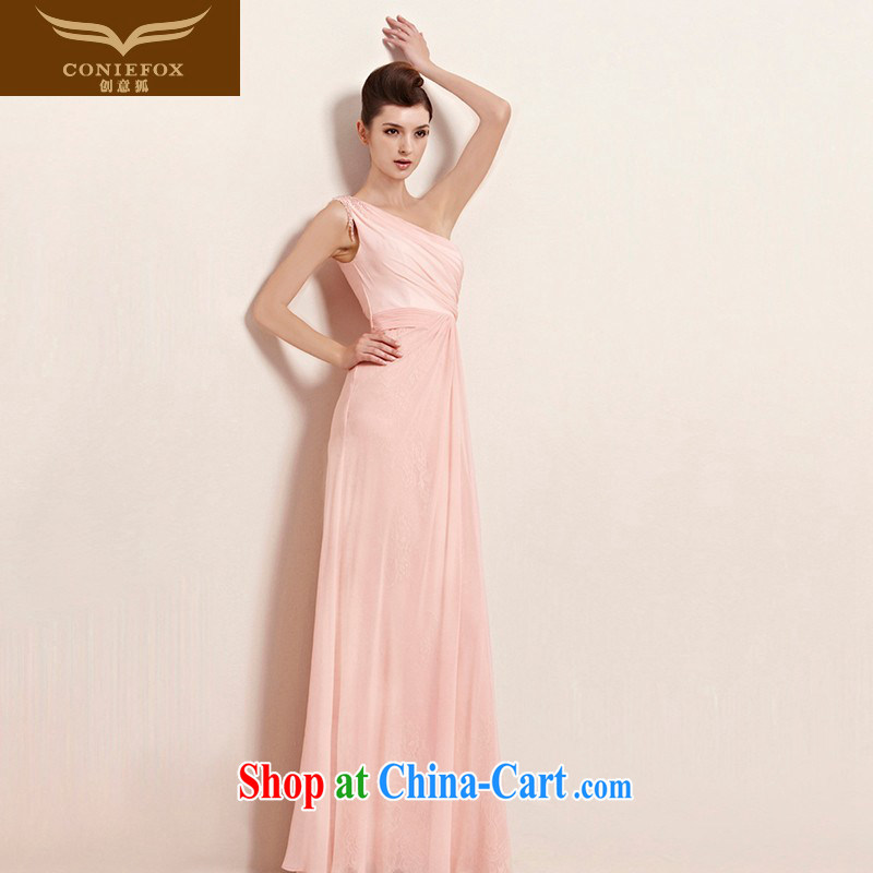 Creative Fox dress elegant long pink single shoulder dress bridal bridesmaid dress wedding dresses the annual dress hospitality service long skirt 30,023 picture color XXL