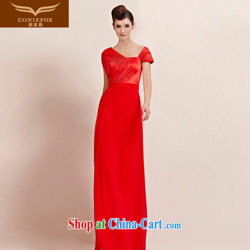 Creative Fox dress personality and wrinkles package shoulder long dress red dress video thin bridal wedding dress evening dress uniform toast welcoming service 30,088 picture color XL