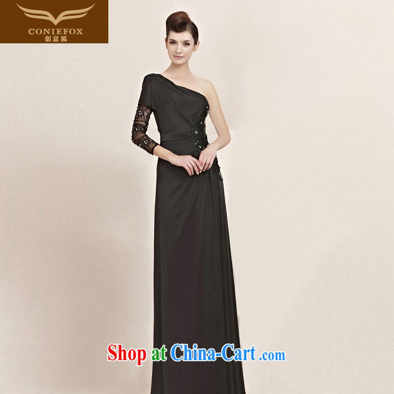 Creative Fox Evening Dress elegant single shoulder 7 sub-sleeved black lace evening dress bridal high waist graphics thin wedding dress long skirt the annual 30,089 dresses picture color XXL