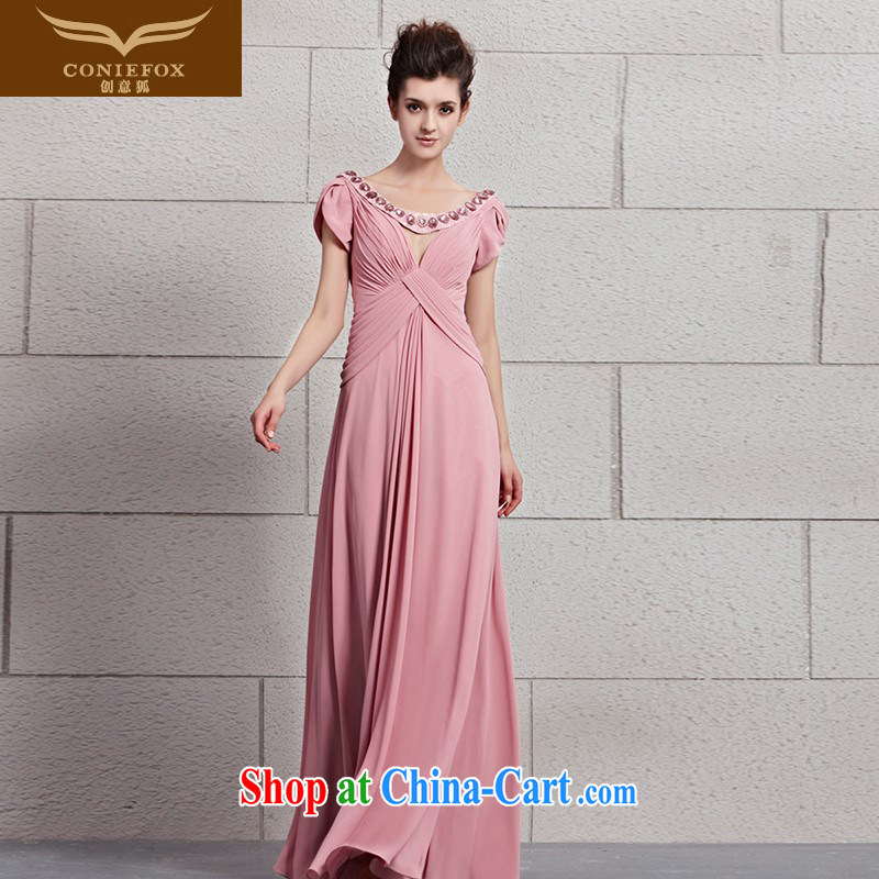 Creative Fox dress pink bridal wedding dress toast serving elegant long bag shoulder deep V dress dress bridesmaid dress dress presided over 30,093 picture color XXL