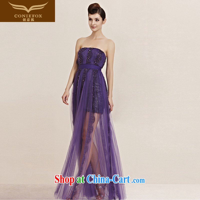 Creative Fox dress new purple elegant banquet dress wiped his chest long gown wedding bridesmaid dress annual concert hosted 30,098 dresses picture color XXL