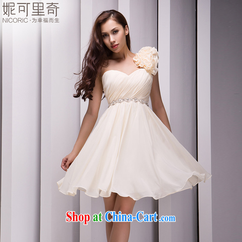 Kidman, summer 2015 new Korean single shoulder small dress champagne color short dress bridesmaid dress dress bridesmaid service mission Small dress evening dress the annual serving champagne color advanced customization 15 day shipping