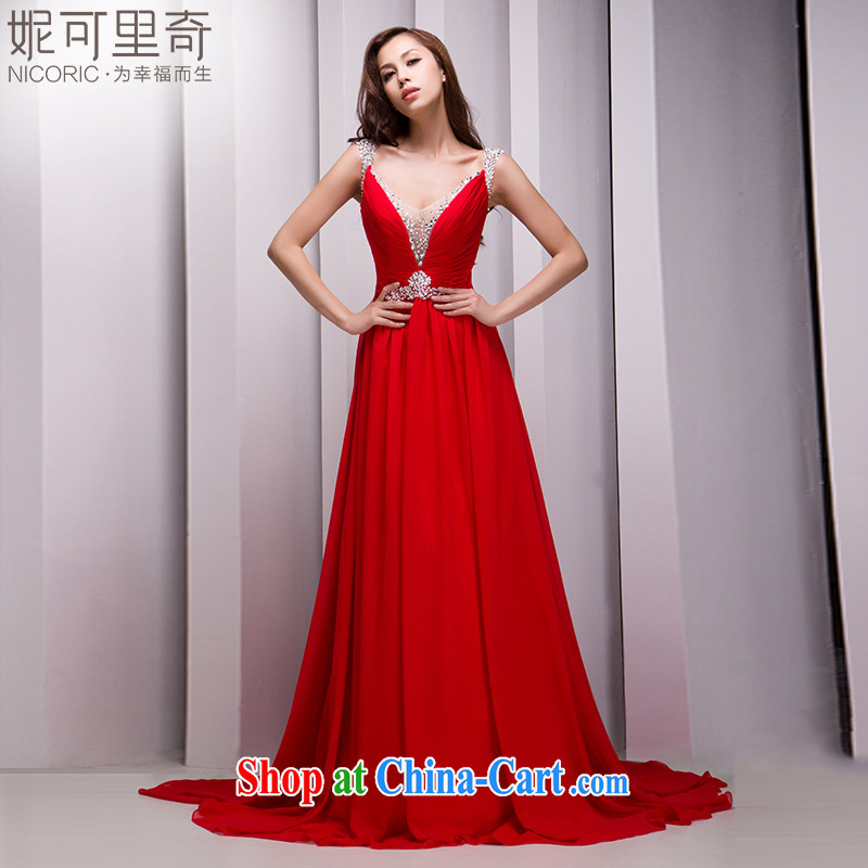 Nicole Richie wedding dresses 2015 new stylish red long gown bridal gown wedding toast Service Annual Meeting banquet evening dress the Summer red Advanced Customization 15 day shipping