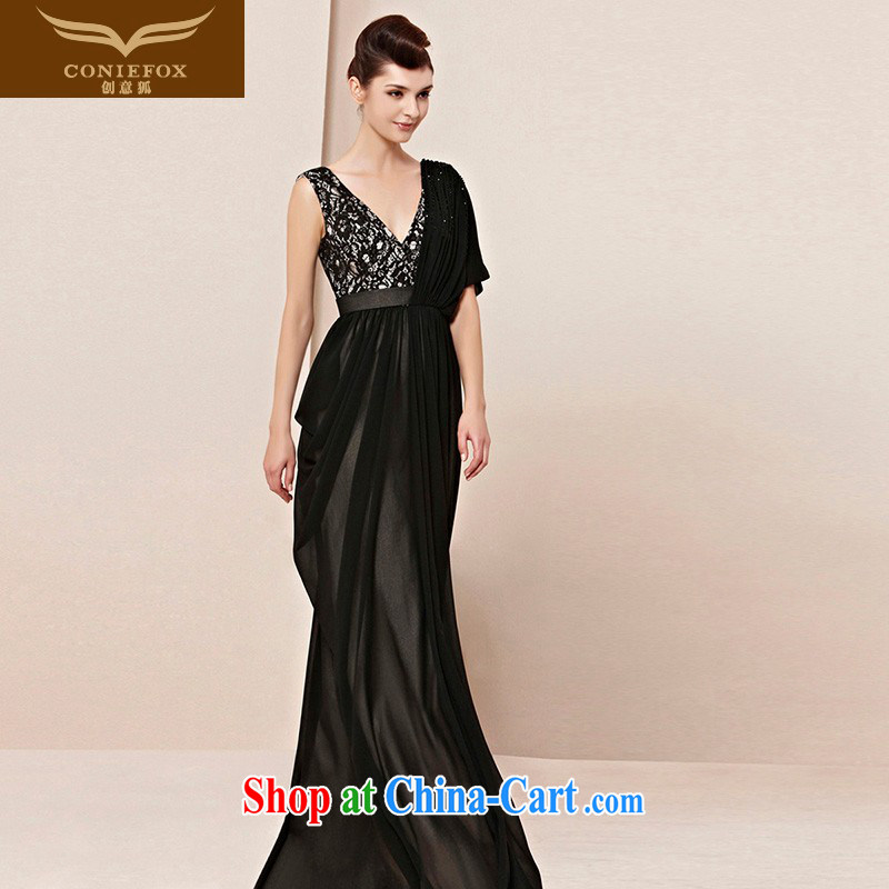 Creative Fox dress Deep V shoulders banquet long evening dress black elegant evening dress uniform toast the annual concert dress long skirt 30,100 picture color S