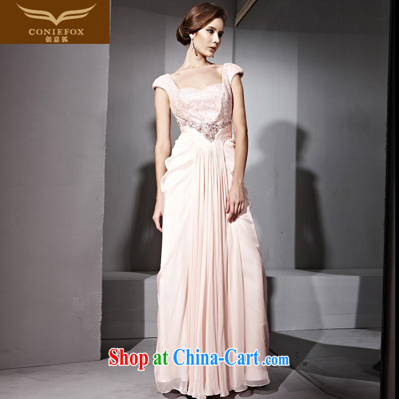 Creative Fox Evening Dress pink bridal package shoulder dress luxury, nails Pearl dress ladies beauty Princess dress long bridesmaid dress 81,093 pink XL