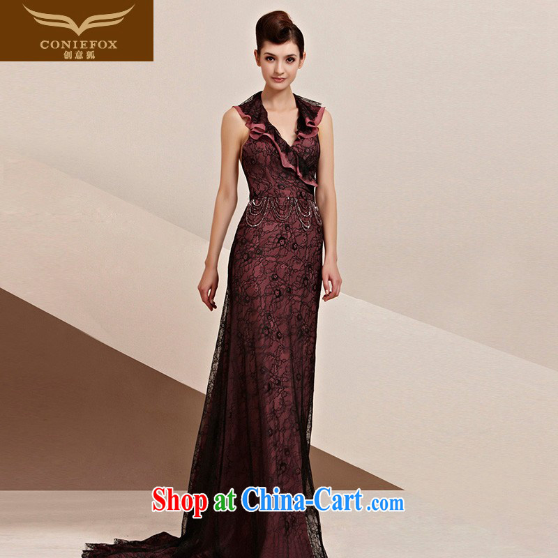 Creative Fox Evening Dress elegant flouncing neckline dress Red Carpet tail dress bridal welcome dress elegant long performances conducted 30,116 dresses picture color XXL