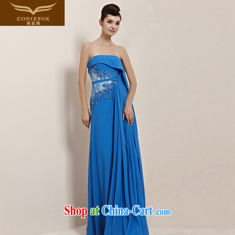 Creative Fox Evening Dress sexy dream blue towel chest dress bridal bridesmaid dress banquet toast serving the dress long performances, serving 30,139 picture color M