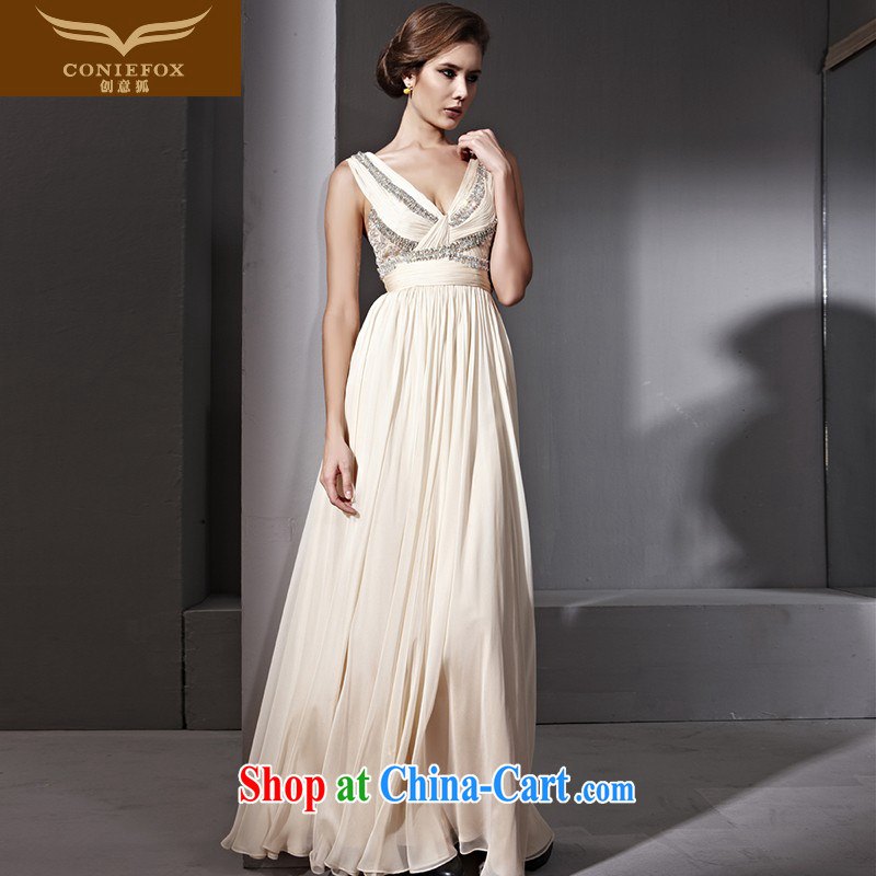 Creative Fox dress shoulders Deep v-waist dress bride toast wedding dresses, long fall to dress the dress fall long skirt 81,100 picture color XXL