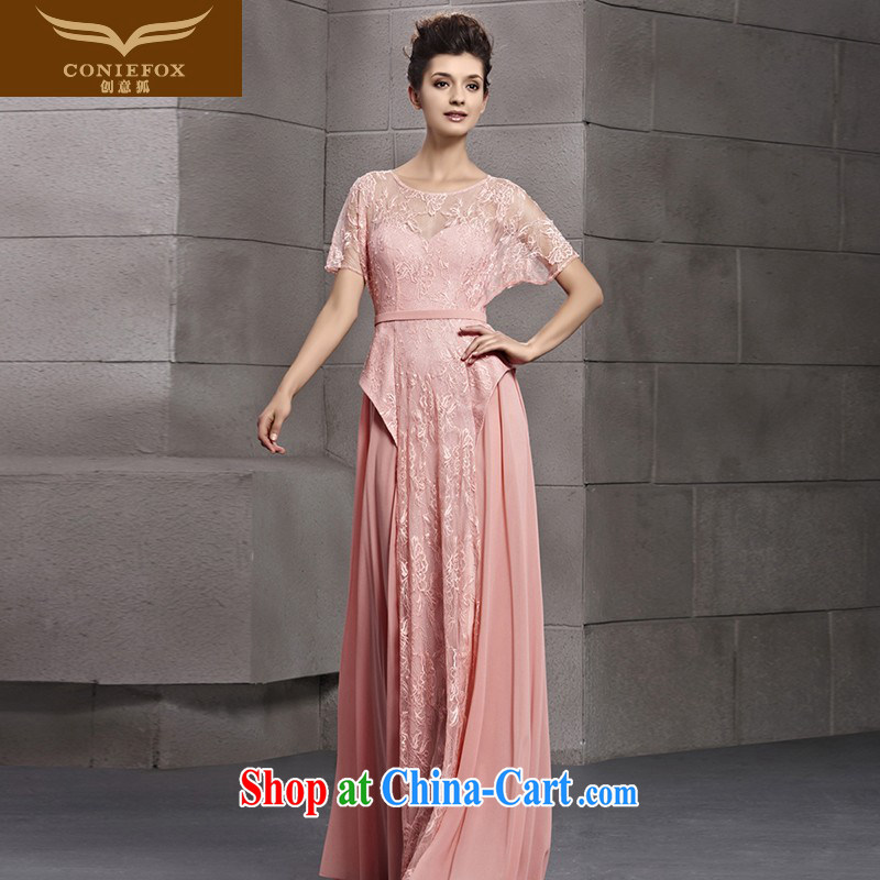 Creative Fox dress pink lace graphics thin evening dress bridal wedding dress evening dress uniform toast long bridesmaid dress the dress skirt 30,151 picture color L
