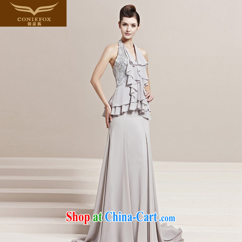 Creative Fox dress spring new stylish is also on-chip dress bridal graphics thin dress bows dress elegant long dress presided over 30,158 picture color XXL
