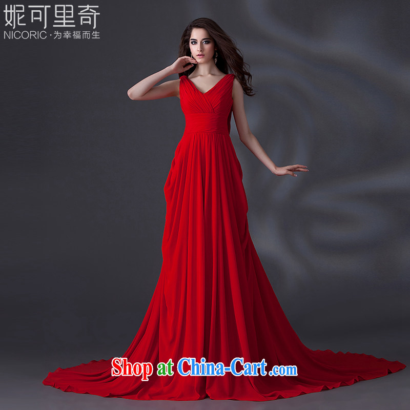 Kidman, toast clothing dress summer 2015 new stylish deep V marriages served toast red annual meeting of the persons chairing banquet performances evening dress long red Advanced Customization 15 day shipping