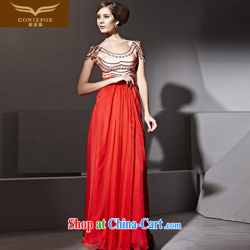 Creative Fox dress red bridal wedding dress banquet toast serving graphics thin-waist Evening Dress fall long dress long skirt welcome dress 81,113 red XXL